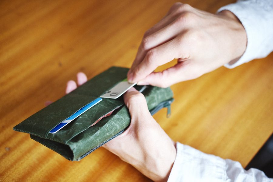 grünes portemonnaie mit karten