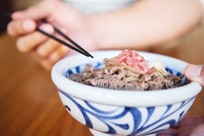 gyudon - thinly sliced beef on rice