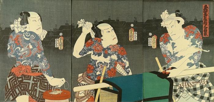 Drei tätowierte Japaner auf einem Ukiyo-e Bild - japanische Tattoos