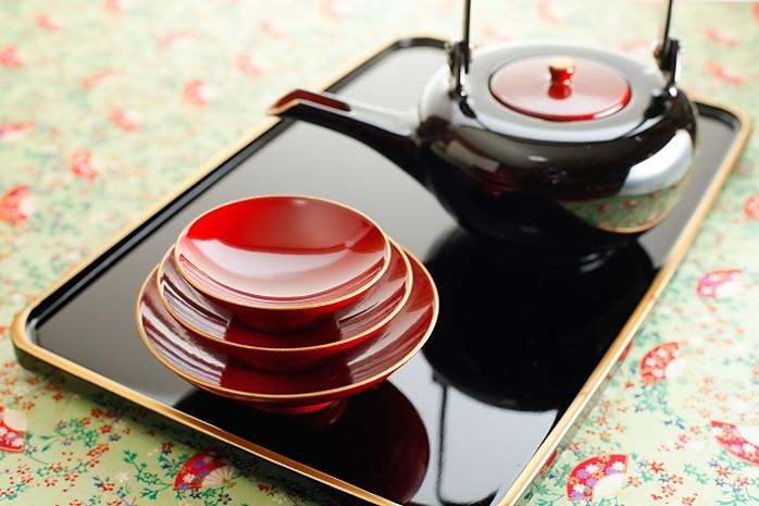 urushi sake set schwarz und rot